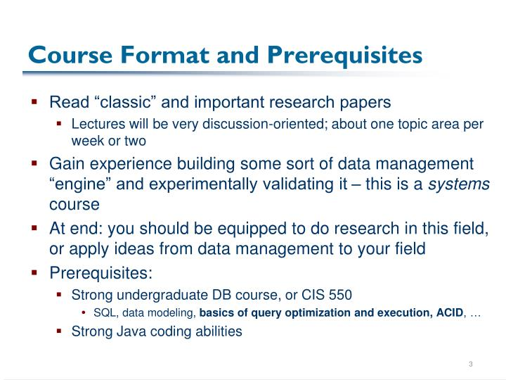 Course format and prerequisites