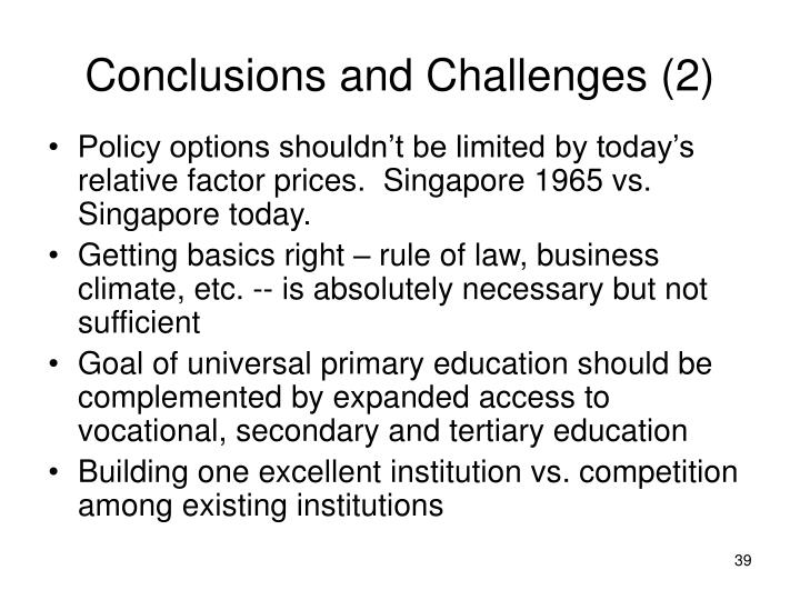 Conclusions and Challenges (2)