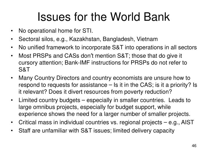 Issues for the World Bank
