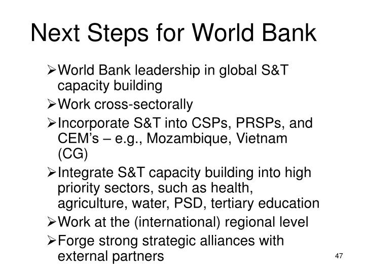 Next Steps for World Bank
