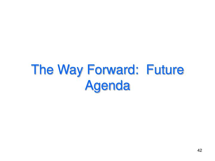 The Way Forward:  Future Agenda