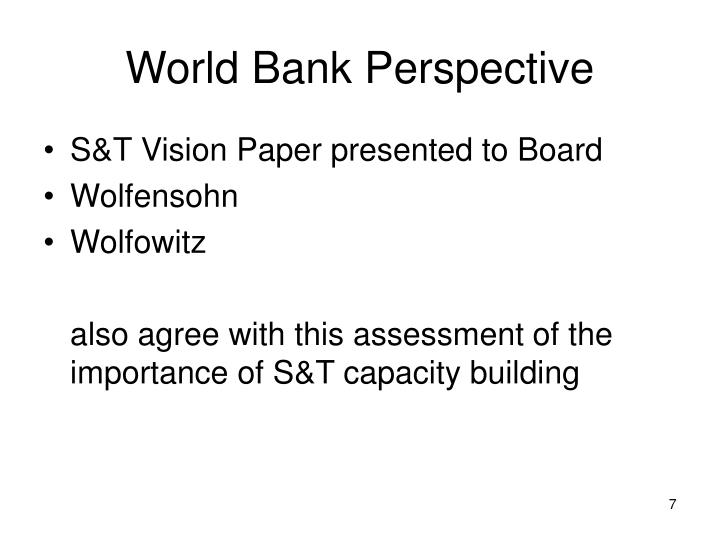 World Bank Perspective