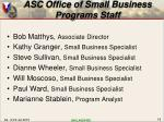 asc office of small business programs staff