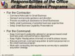 responsibilities of the office of small business programs