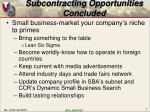 subcontracting opportunities concluded