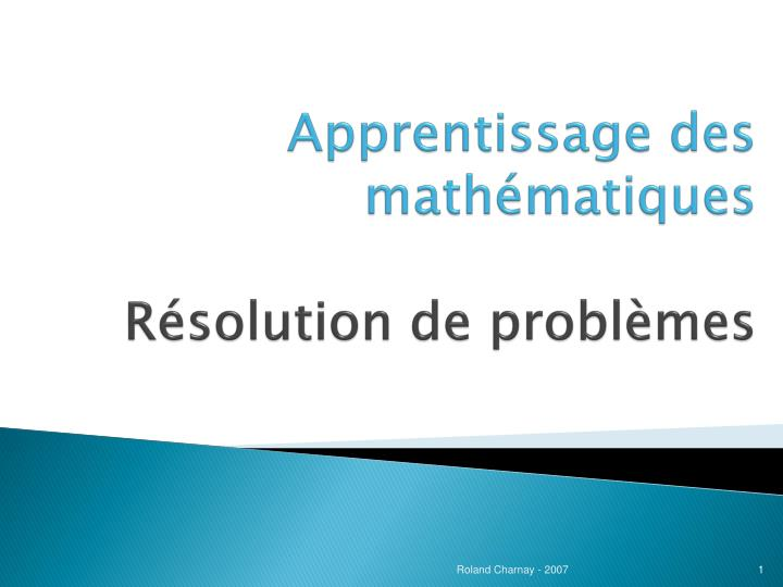 apprentissage des math matiques r solution de probl mes n.