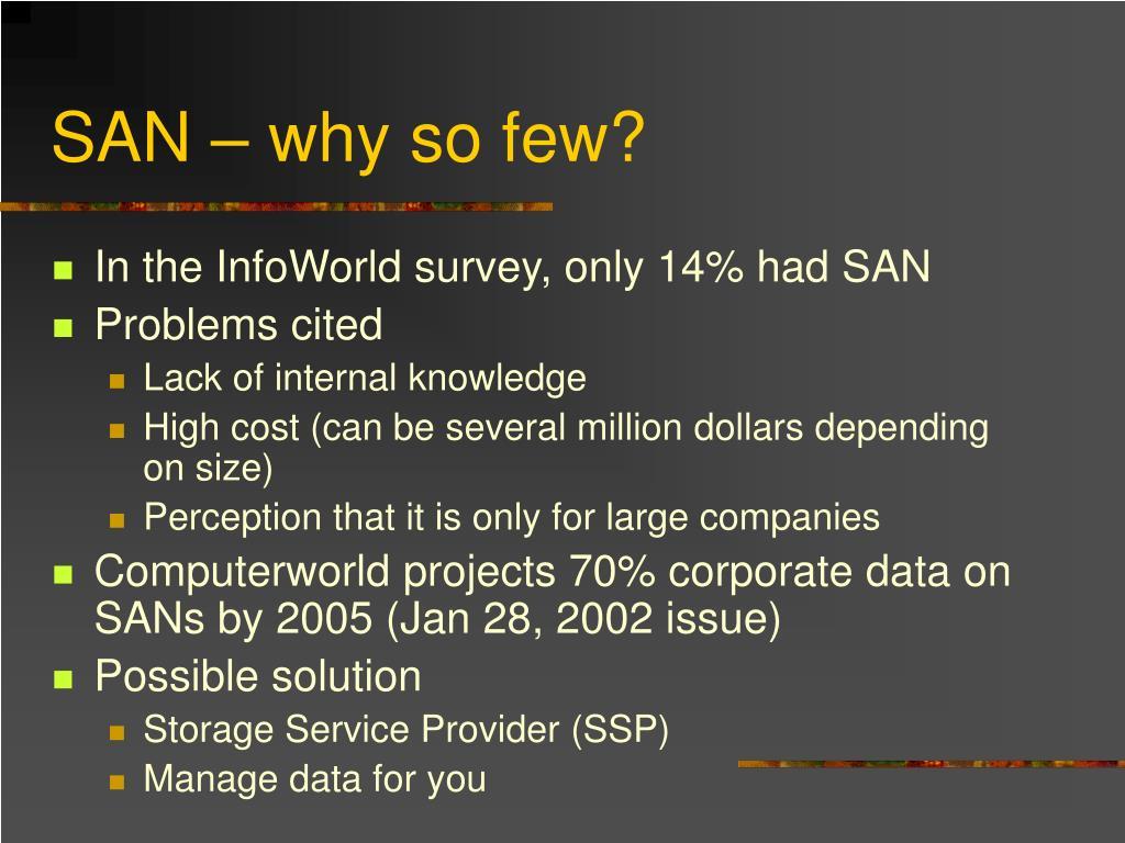 SAN – why so few?