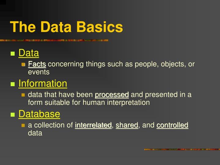The data basics