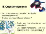 ii questionnements
