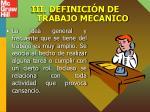 iii definici n de trabajo mecanico