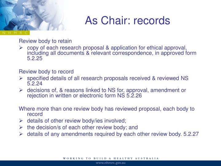 As Chair: records