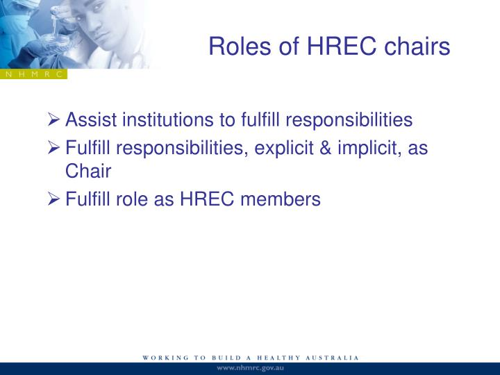 Roles of HREC chairs