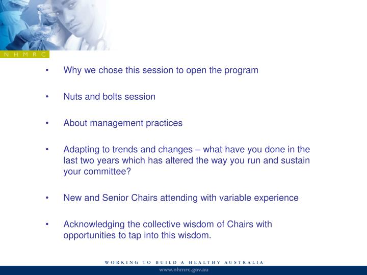 Why we chose this session to open the program