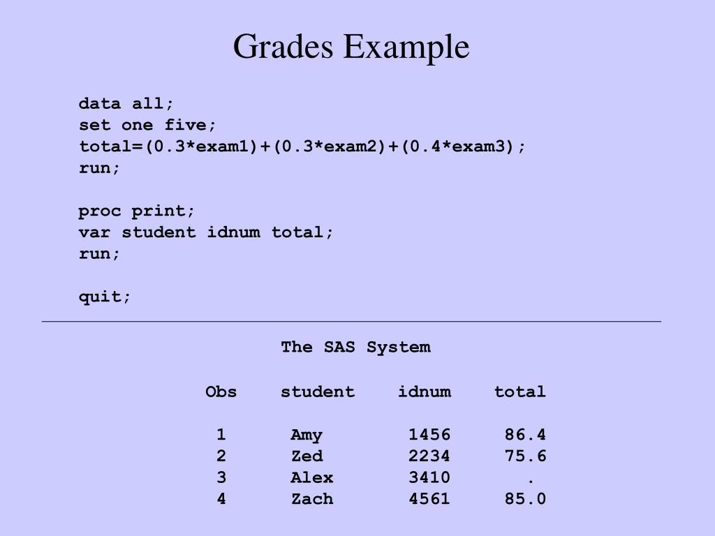 Grades Example