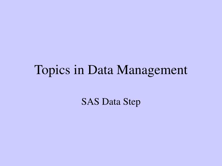 topics in data management n.