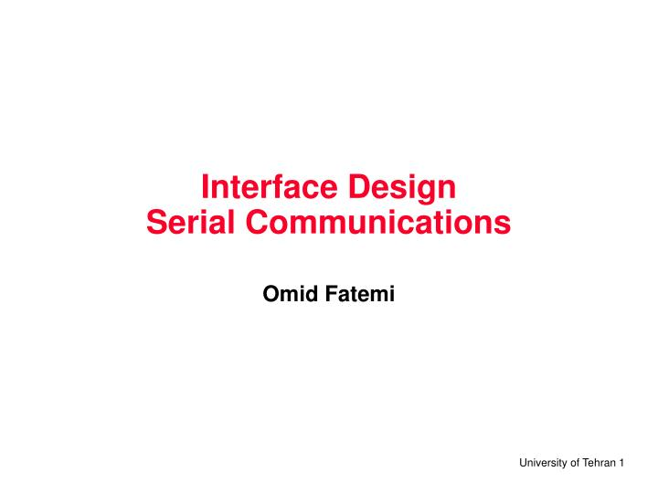 interface design serial communications n.