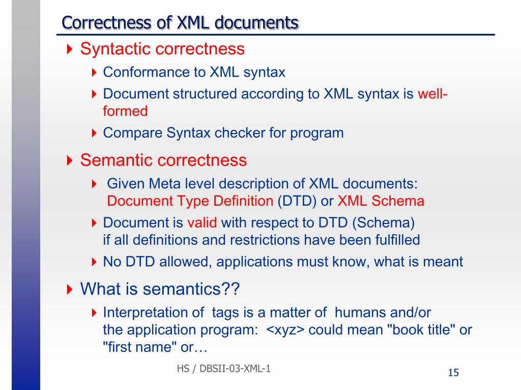 Correctness of XML documents
