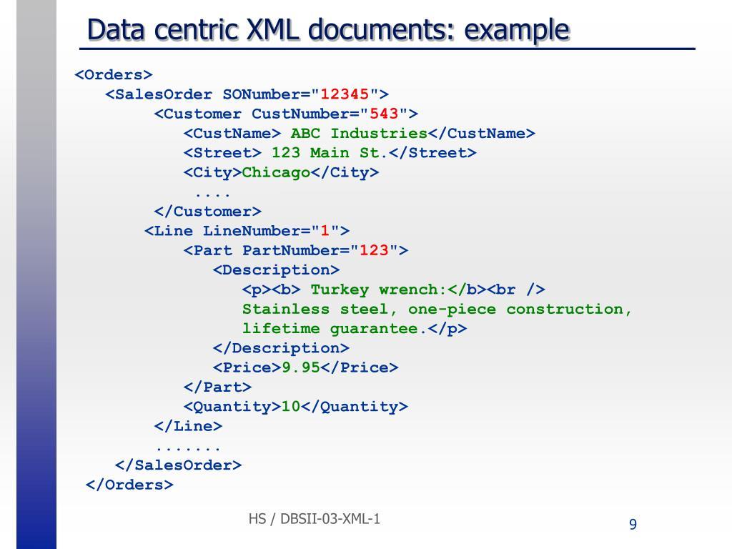 Data centric XML documents: example