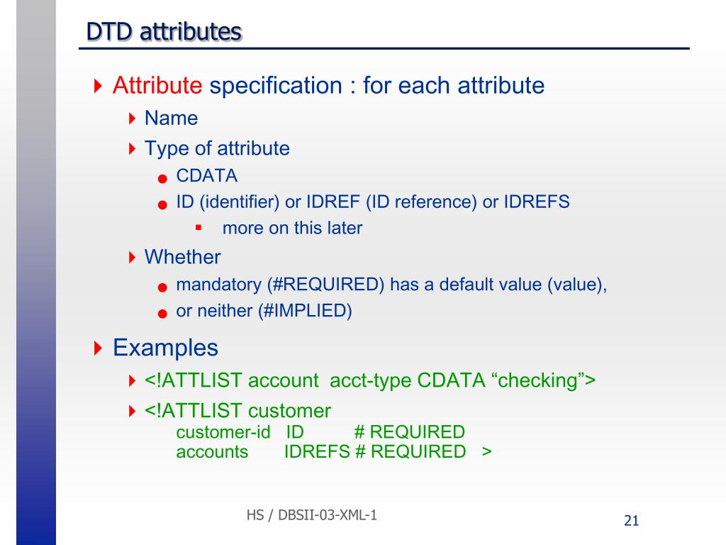 DTD attributes