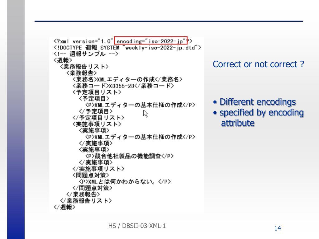 Different encodings