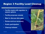 region 3 facility lead cleanup