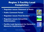 region 3 facility lead completion