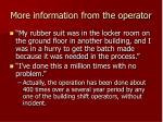 more information from the operator