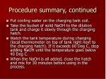 procedure summary continued
