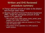 written and ehs reviewed procedure summary