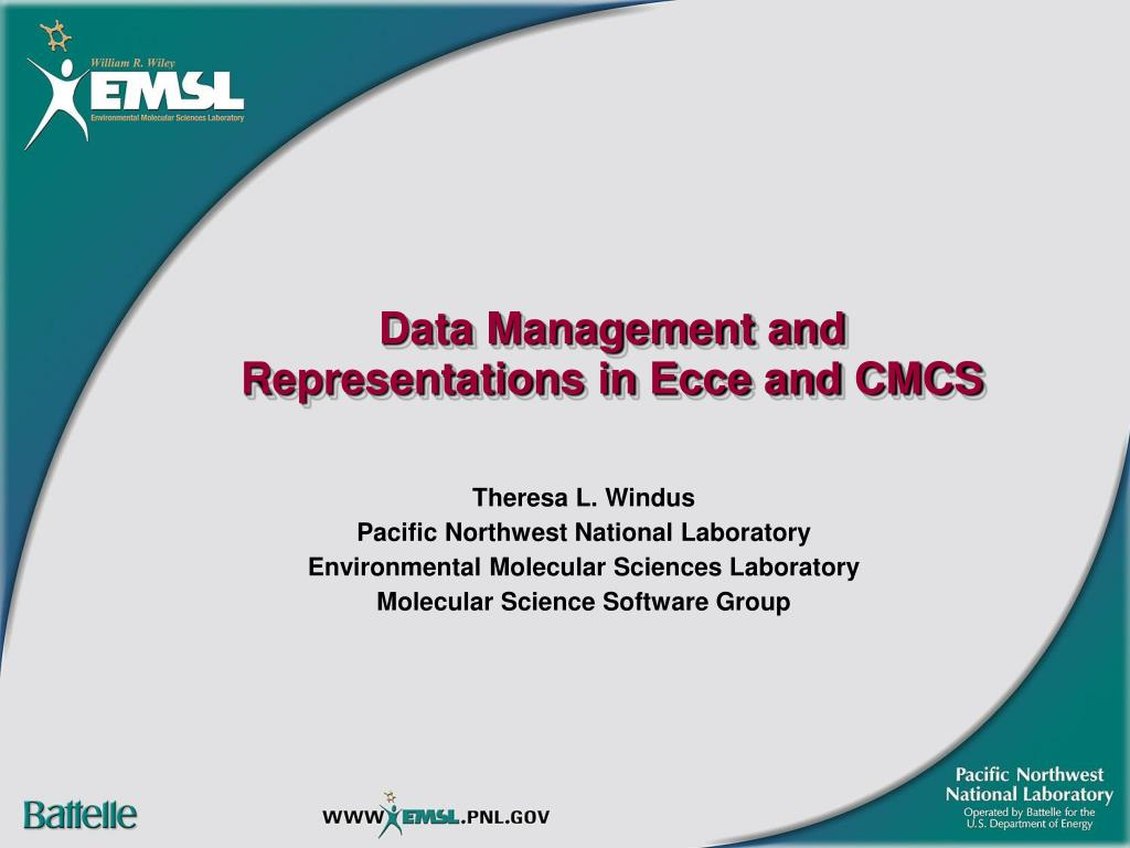 data management and representations in ecce and cmcs