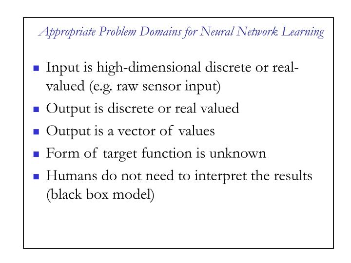 Appropriate Problem Domains for Neural Network Learning