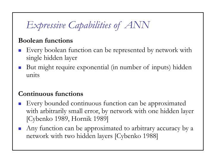 Expressive Capabilities of ANN