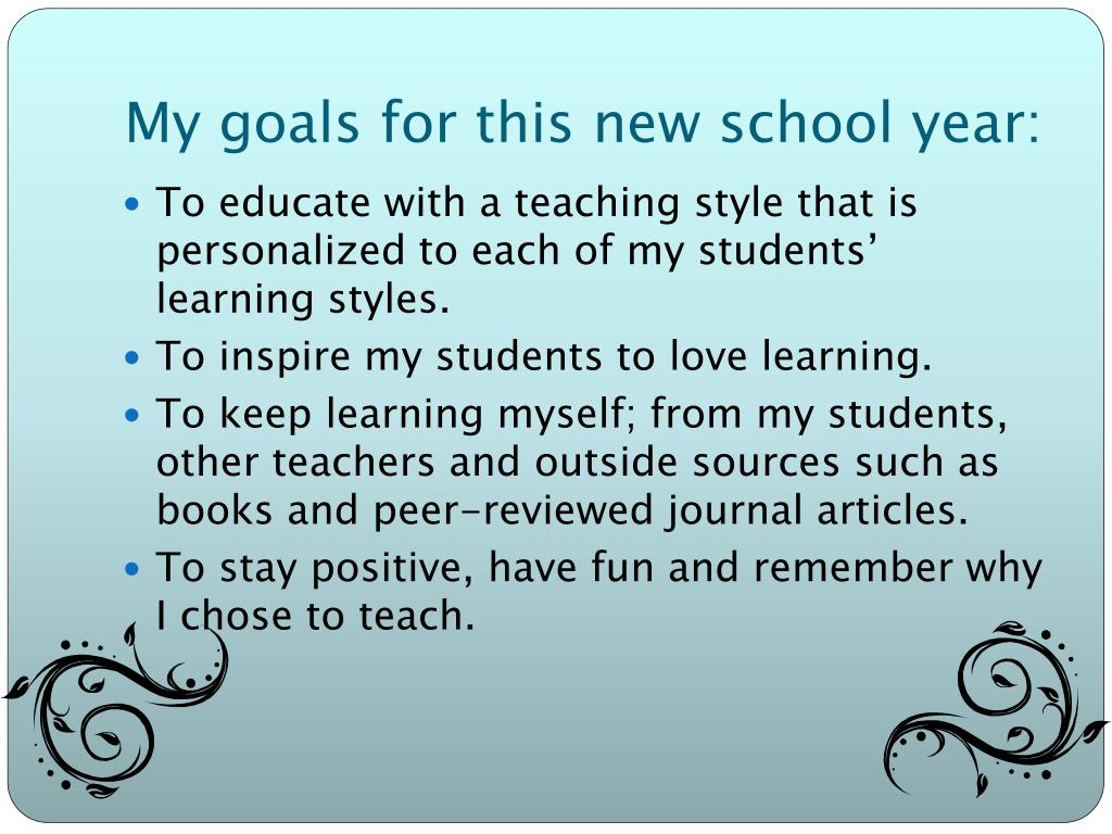 My goals for this new school year: