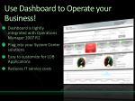 use dashboard to operate your business
