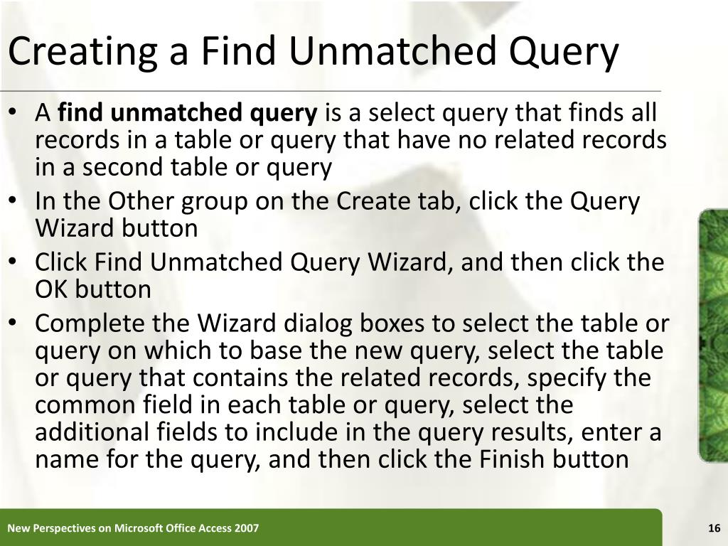 Creating a Find Unmatched Query