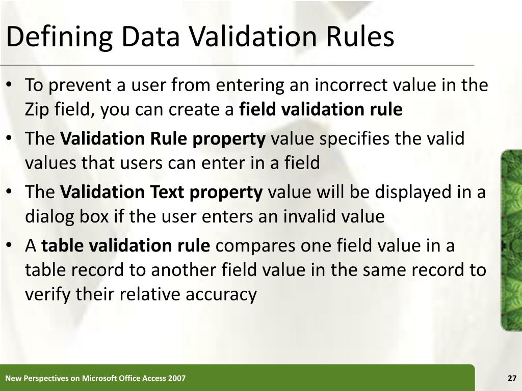 Defining Data Validation Rules