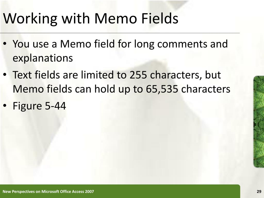 Working with Memo Fields