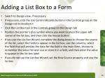 adding a list box to a form