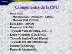 componentes de la cpu