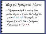 using the pythagorean theorem