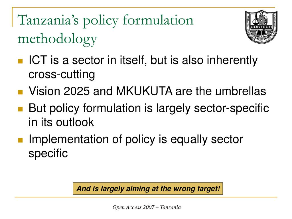 Tanzania's policy formulation methodology