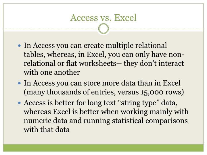 Access vs excel