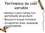 pertinence du co t variable