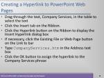 creating a hyperlink to powerpoint web pages