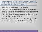 removing the table border view gridlines and autofit the table contents11