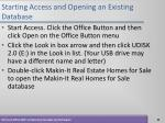 starting access and opening an existing database