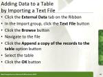 adding data to a table by importing a text file