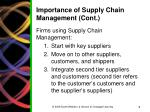 importance of supply chain management cont