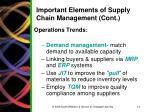 important elements of supply chain management cont