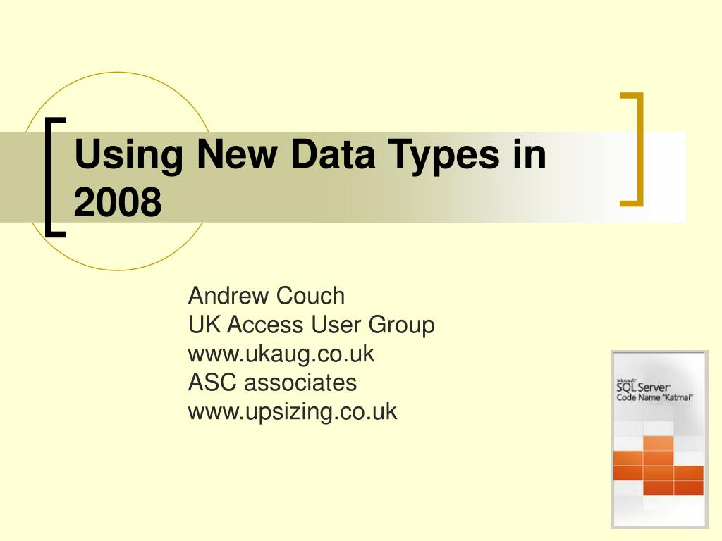 using new data types in 2008 l.